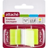 "Закладки самокл.(45*25мм) 1*25л. желтый, пластик, в диспенсере ""Attache"" 166081"